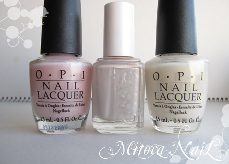OPI#H35 Isn't it romantic?(イズント・イット・ロマンチック?)/essie#630 Body Language(ボディ・ランゲージ) /OPI#H29 Time-less Is More(タイムレス イズ モア)