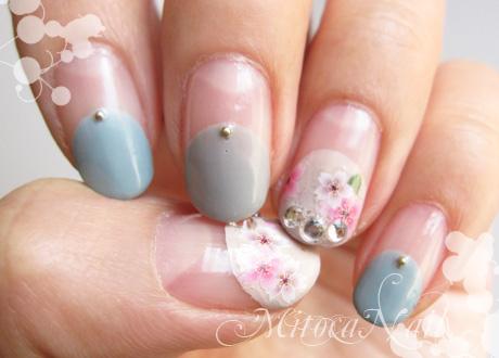 桜ネイル2012:花曇り