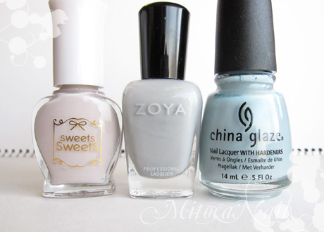 sweets sweets  NL35 オフグレイ/Zoya#ZP541 Dove(ドーヴ)/China Glaze#80972 Sea Spray(シースプレー)
