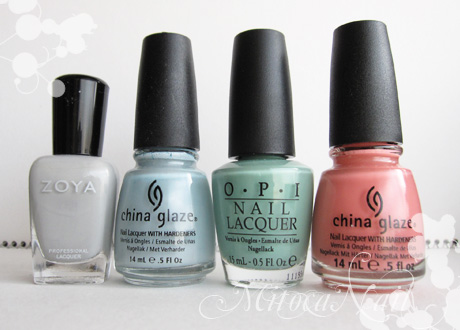 Zoya#ZP541 Dove(ドーヴ)/China Glaze#80972 Sea Spray(シースプレー)/OPI#P18 Mermaid's Tears(マーメイド・ティアーズ)/China Glaze#77004 IV(フォー)