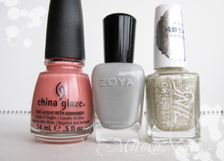 China Glaze#77004 IV(フォー)/Zoya#ZP541 Dove(ドーヴ)/TiNS#088 Miss Photogenic(ミス・フォトジェニック)