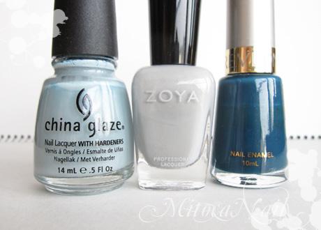 China Glaze#80972 Sea Spray(シースプレー)/Zoya#ZP541 Dove(ドーヴ)/REVLON ネールエナメル F048 (廃盤)