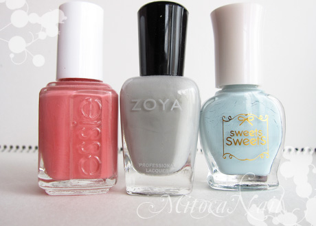 essie#645 My Place or Yours(マイ・プレイス・オア・ユアズ)/Zoya#ZP541 Dove(ドーヴ)/sweets sweets NL8 ソーダ