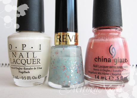 OPI#H29 Time-less Is More(タイムレス イズ モア)/REVLON ネイルエナメル #430 ウィムジカル/China Glaze#77004 IV(フォー)