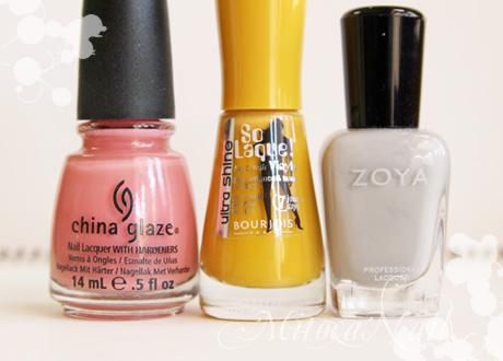 左から:China Glaze#77004 IV(フォー)/Burjois ソーラック ウルトラシャイン#39 Jaune trendy/Zoya#ZP541 Dove(ドーヴ)