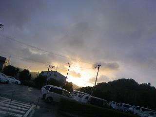 雨の夕焼け!