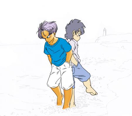 残暑のトランクス&悟天-下書き