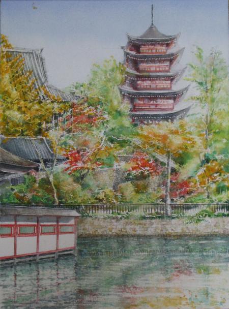 宮島の紅葉と五重塔