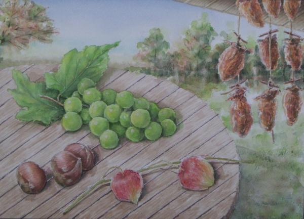 干柿を吊るした軒先で