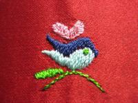 刺繍・・・眼の色いまいちな鳥