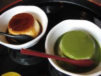 岡本屋のカスタードと抹茶プリン