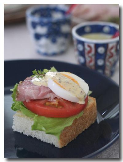 レタス・トマト・ゆで卵・ハム + ハニーマスタードマヨディップ