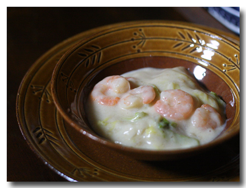 白菜とエビの和風クリーム煮