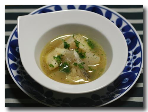 たらとかぶの にんにくスープ