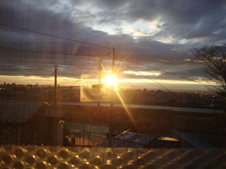 我が家から眺めた夕日