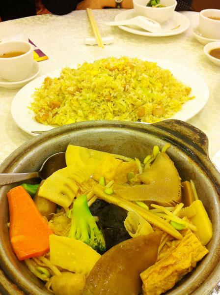 チャーハンと野菜の炒め物