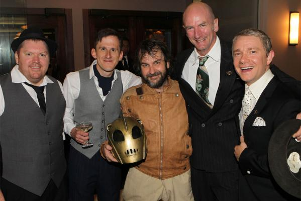 OUT OF HIS HELMET Director Peter Jackson with Hobbit cast members, dwarfs Adam Brown and Graham McTavish, and lead hobbit Martin Freeman.