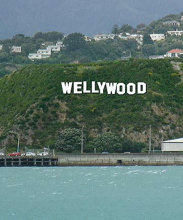 A computer-designed photo of the Wellywood sign on the Miramar hill.