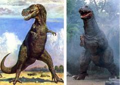 T-REXの想像図とゴジラザウルス