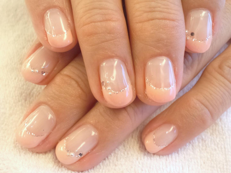ピンクフレンチネイル ブライダルネイル ネイルアートシンプル ピンクネイル画像