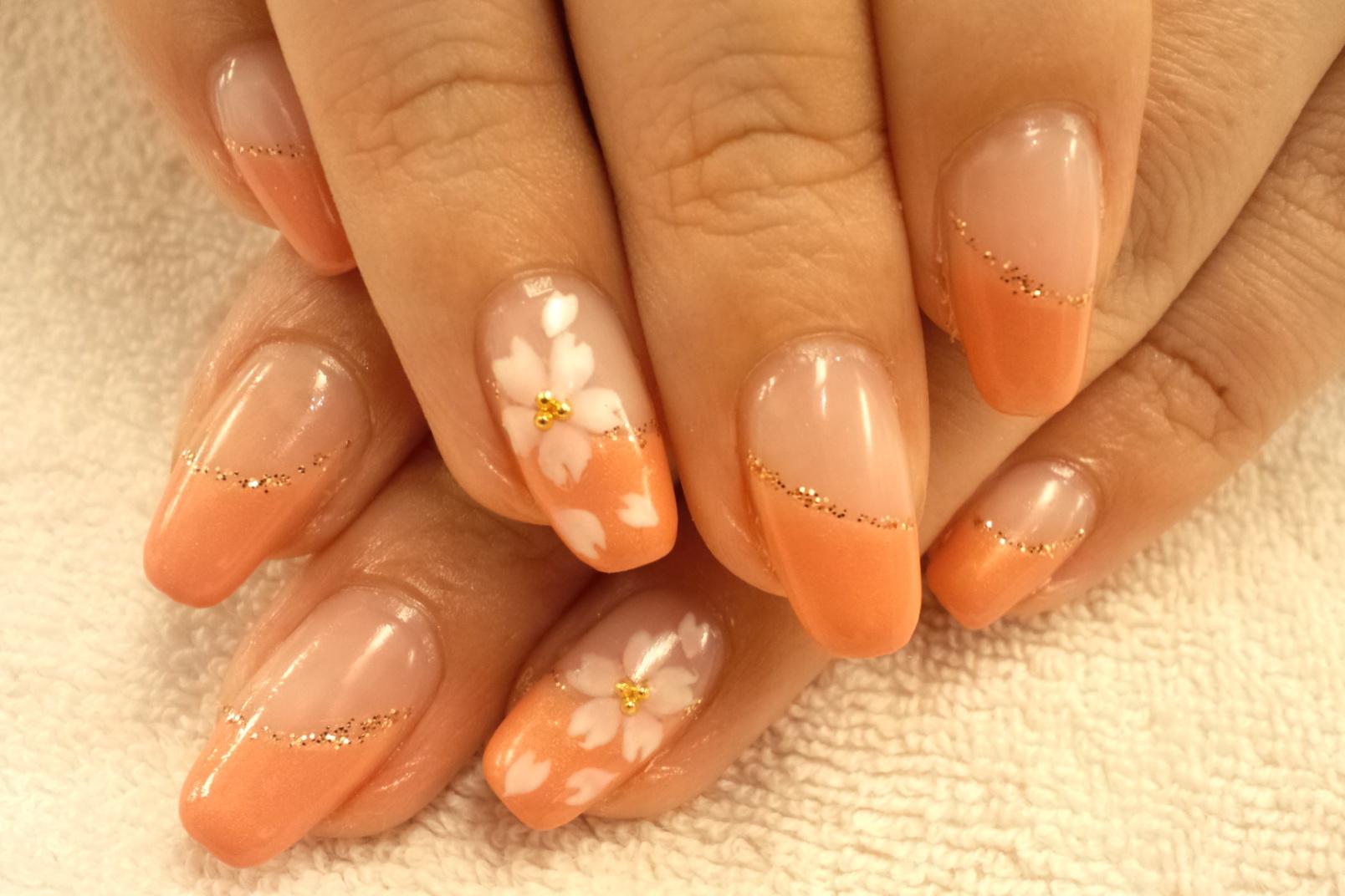 ネイル春 ネイルデザイン ネイル桜 桜ネイル春  ジェル桜 斜めフレンチ桜 斜めフレンチピンク