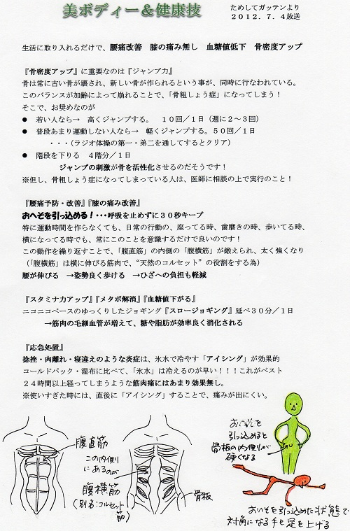 「ためしてガッテン・美ボディ&健康技」放送分を編集