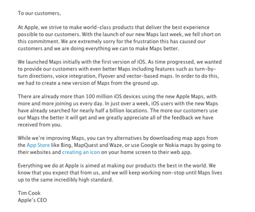 Apple letter from Tim Cook on Maps 1209301042