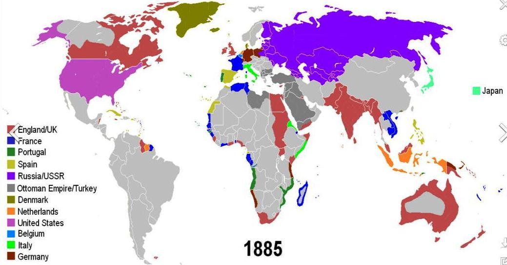 1885年・日清戦争開戦時の世界地図