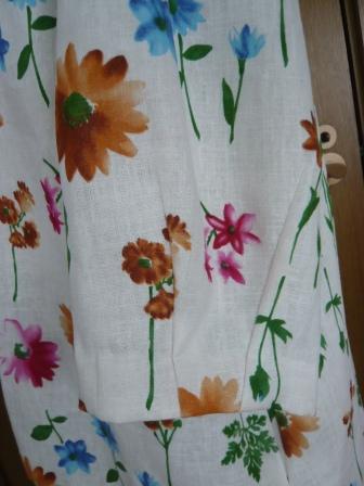リネン花柄袖