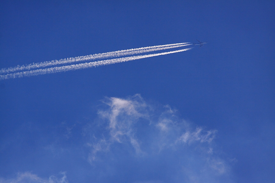 Contrail by NCA B747-400F@伊丹スカイパーク(by EOS 50D with SIGMA APO 300mm F2.8 EX DG/HSM)