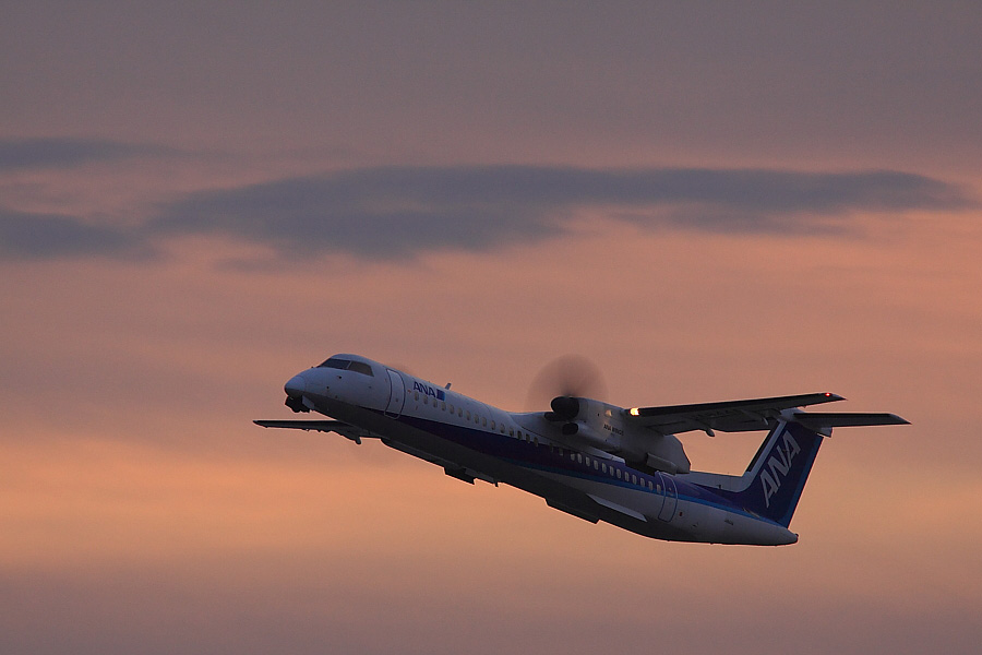 AKX DHC-8-402Q ANA1601@RWY14Rエンド猪名川土手(by EOS 50D with SIGMA APO 300mm F2.8 EX DG/HSM + APO TC1.4x EX DG)