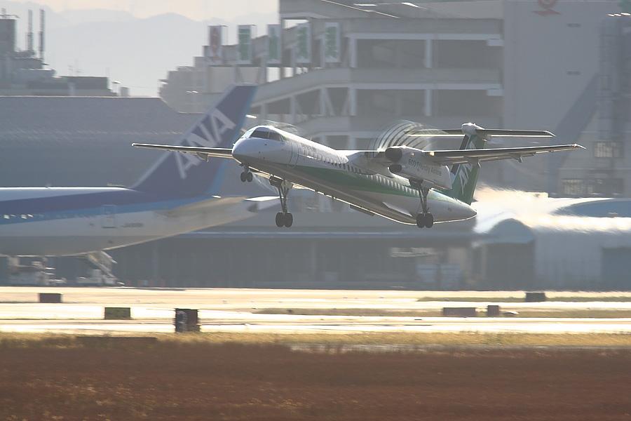 AKX DHC-8-402Q ANA1657@RWY14Rエンド・猪名川土手(by EOS 50D with SIGMA APO 300mm F2.8 EX DG/HSM + APO TC2x EX DG)