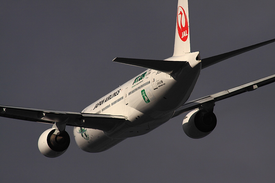 JAL B777-246 JAL118@RWY14Rエンド猪名川土手(by EOS 50D with SIGMA APO 300mm F2.8 EX DG/HSM + APO TC2x EX DG)