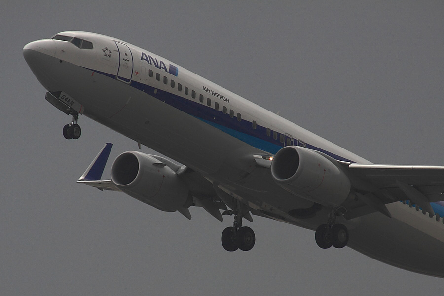 ANK B737-881 ANA443@RWY14Rエンド・猪名川土手(by EOS50D with SIGMA APO 300mm F2.8 EX DG/HSM + APO TC2x EX DG)