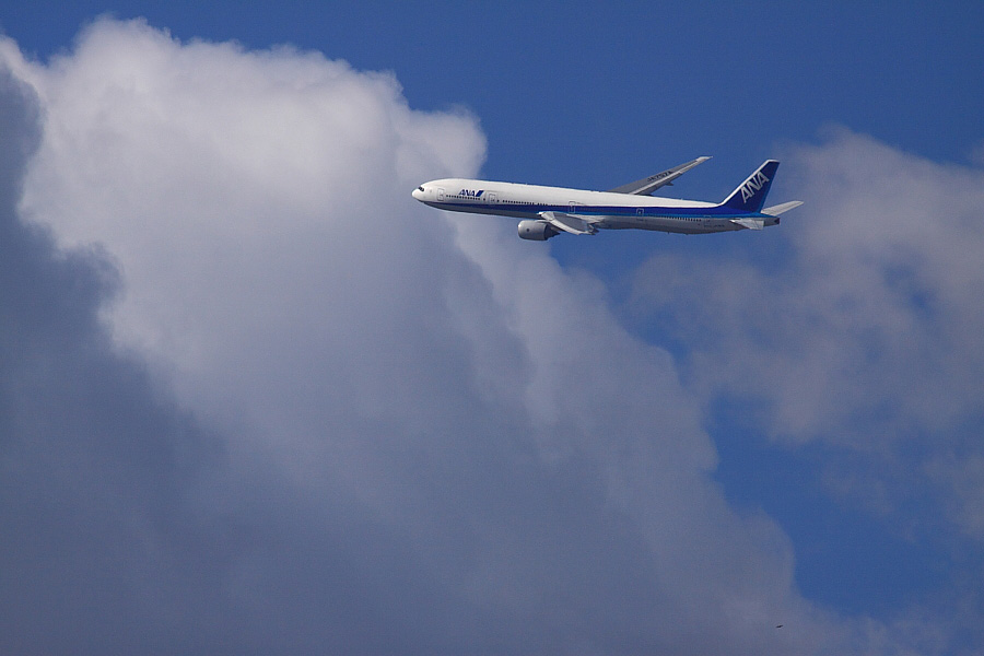 ANA B777-381 ANA105@RWY14Rエンド猪名川土手(by EOS 50D with SIGMA APO 300mm F2.8 EX DG/HSM + APO TC2x EX DG)