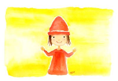 アーティストママのつれづれ日記-赤帽子イラスト