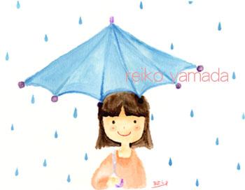アーティストママのつれづれ日記-梅雨 雨傘イラスト