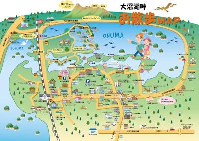 大沼公園イラストマップ