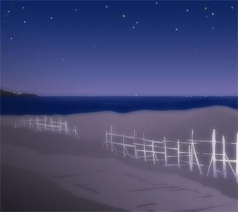 夜の浜イラスト