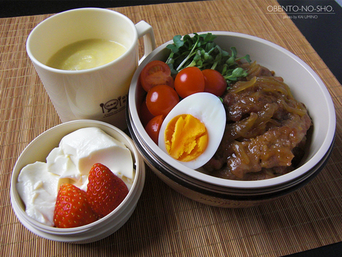 生姜焼きうどん&白菜のすり流し弁当01