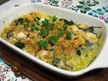 牡蠣とほうれん草のオリーブオイル焼き