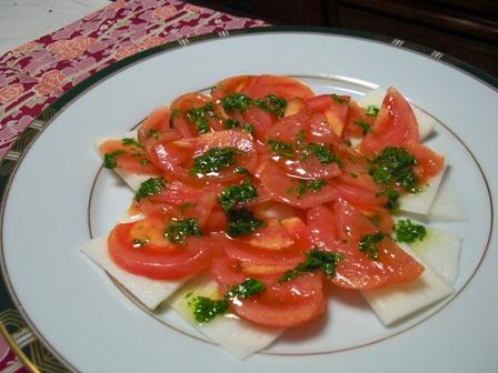 長芋トマトのサラダ