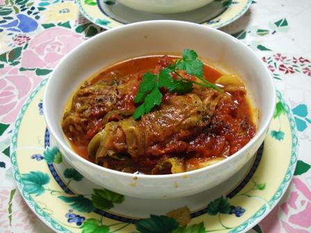 豚肉キャベツの重ねトマト煮