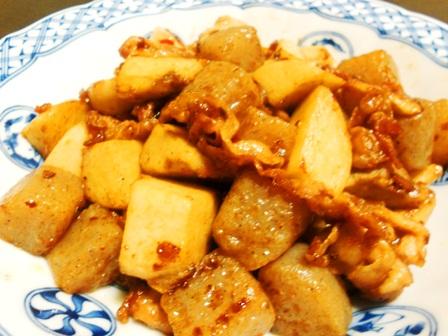 里芋豚肉蒟蒻もオイスターソース炒め