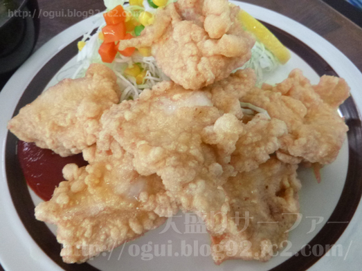 飯岡れすとらん味っ子で鶏の唐揚げ定食001