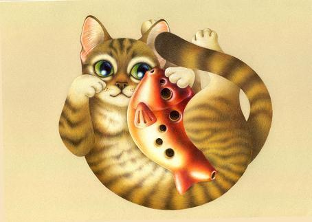 天才なるおさなご達 ~我輩は書生猫である~-濃厚色鉛筆アート・著作権あり・ミール