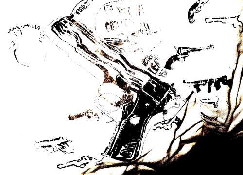 シルクスクリーンと拳銃