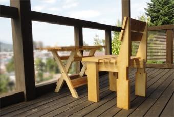201409 テーブルとイスセットとベランダ景色