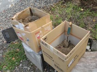 201410 新旧のダンボール堆肥箱