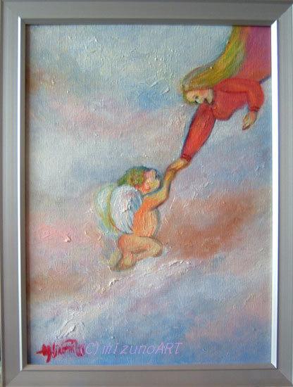 ほっと癒される光の絵画 感謝と祈りの詩と薔薇とアートコレクション-渡邉裕美 油絵 天使を迎える女神